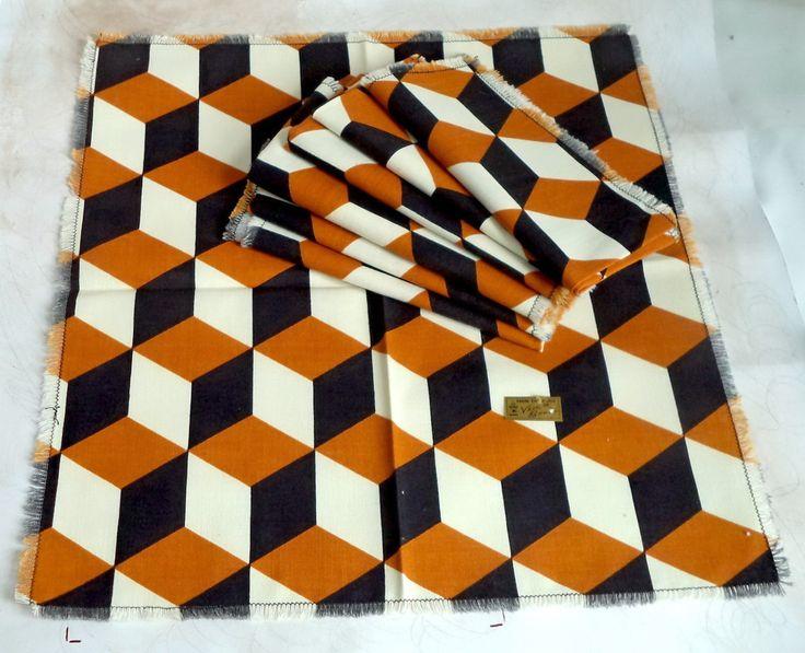 Lot of 8 VERA new 60s Retro Napkins NEW vintage Cotton POLYGON 3D Art Black Rust Amber Bold + Label Mid Century Linen Decor Movie Prop Gift by MushkaVintage3 on Etsy