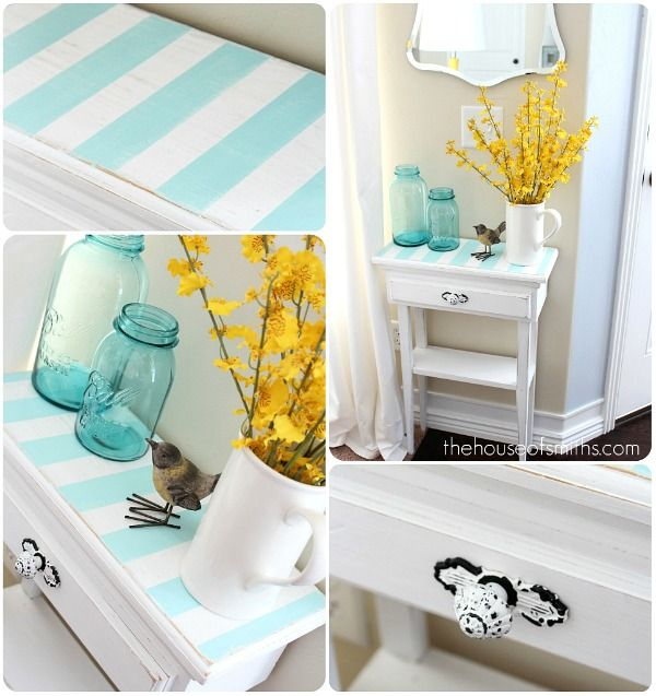 The House Of Smiths DIY  Aqua Striped Table Top (so Simple, Lovely U0026  Timeless)