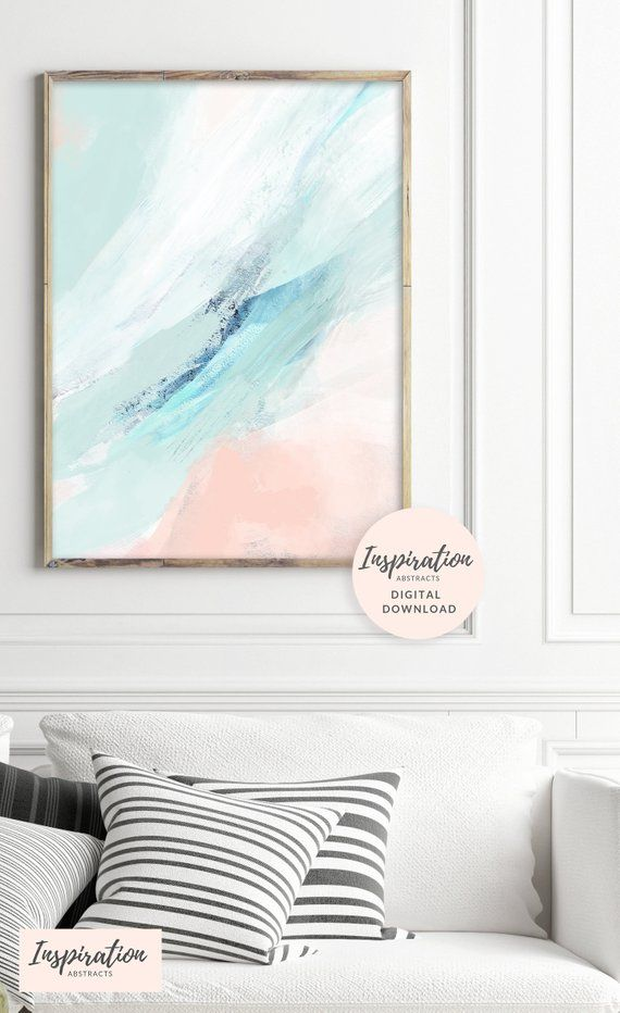 Pastel Abstract Art Beach House Art Pink And Mint Art Printable