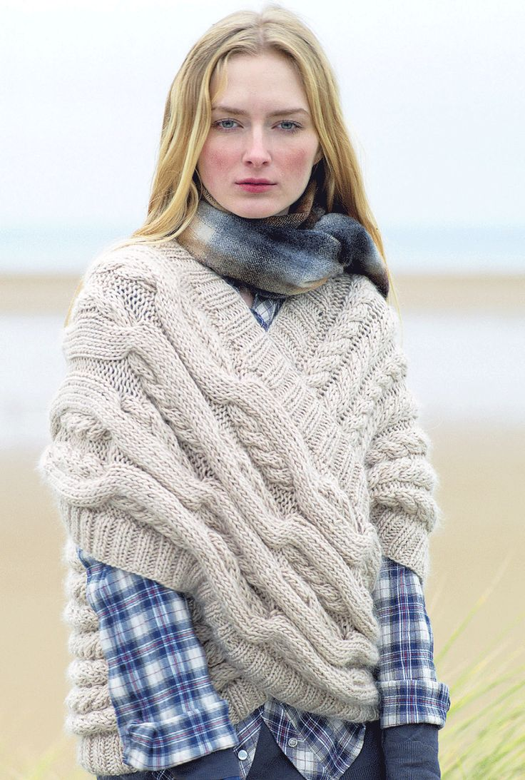 Rowan Magazine #48, cabled cross-wrap | free pattern download