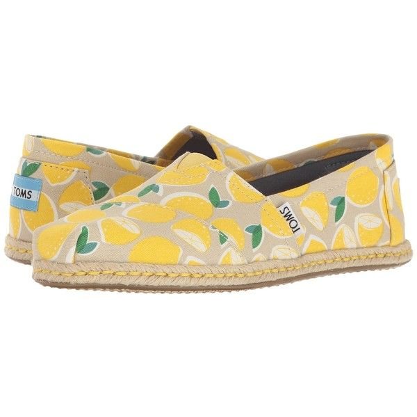 TOMS Seasonal Classics (Yellow Lemons Rope Sole) Women's Slip on... ($59) ❤ liked on Polyvore featuring shoes, boots, ankle booties, glitter boots, toms boots, shearling lined boots, roper boots and toms booties
