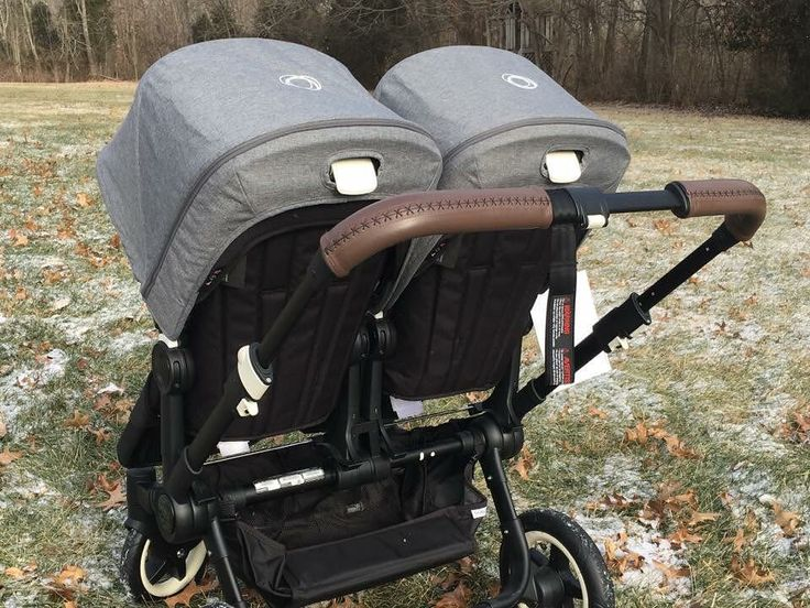 Leather handle bar covers on a Bugaboo Donkey. Bugaboo