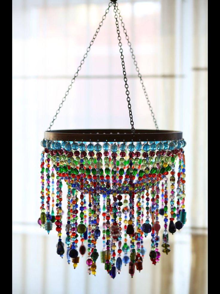 bead chandelier, lighting, boncuk avize