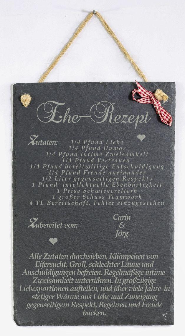Schiefertafel Hochzeit persönl. Gravur Ehe Rezept – Wanddeko – Wandgestaltung -…