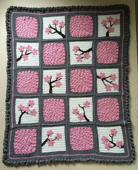 How to Make a Cherry Blossom Crochet Blanket
