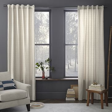 Ordered these - not very ivory as depicted. Definitely grey with ivory embroidery  Painterly Diamond Jacquard Curtain - Platinum #westelm