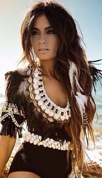 Boho chic gypsy tribal top, modern hippie long hair. For the BEST Bohemian fashion style ideas FOLLOW https://www.pinterest.com/happygolicky/the-best-boho-chic-fashion-bohemian-jewelry-gypsy-/ now