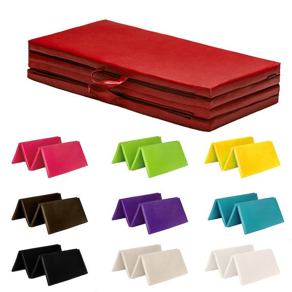 "New 8ft Folding High Density Foam Multi-Use Exercise MatsColour Choice-Black / Brown / Cream / Lime / Pink / Purple / Red / Turquoise / White / Yellow Royal Blue is currently out of stock.Soft PVC Leather MaterialZipped Removable CoversHeavy Duty Impact Resistant Polyurethane FoamLightweight mat easy to move around Easy Carry HandlesIdeal for use in the home, school, garden, gym or in children's play areas Fire Retardant to BS5852Size:Overall: 4ft x 8ft (120cm by 240cm)Thickness 2""…"