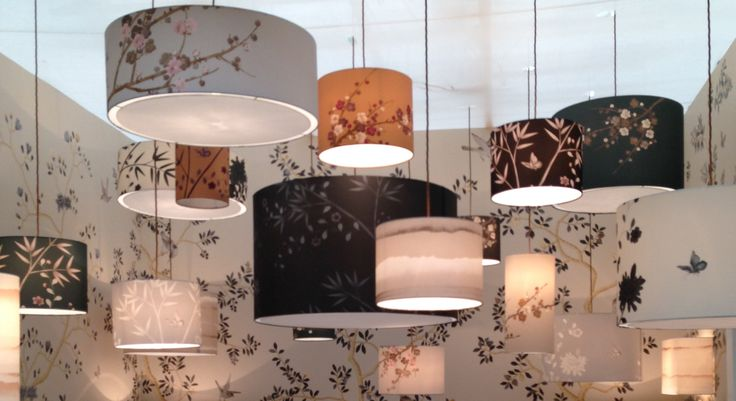 Hanging ceiling lamps with floral patterns.