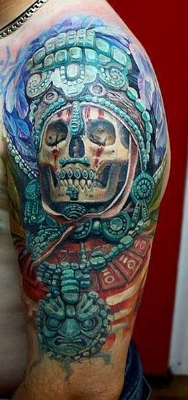 Mayan skull half sleeve
