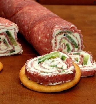 Salami and Cream Cheese Roll-ups ~ this could be any lunch meat and vegie on any cracker or bread...