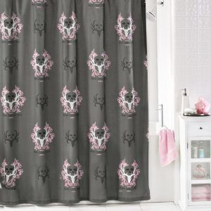 Gray And Pink Shower Curtain
