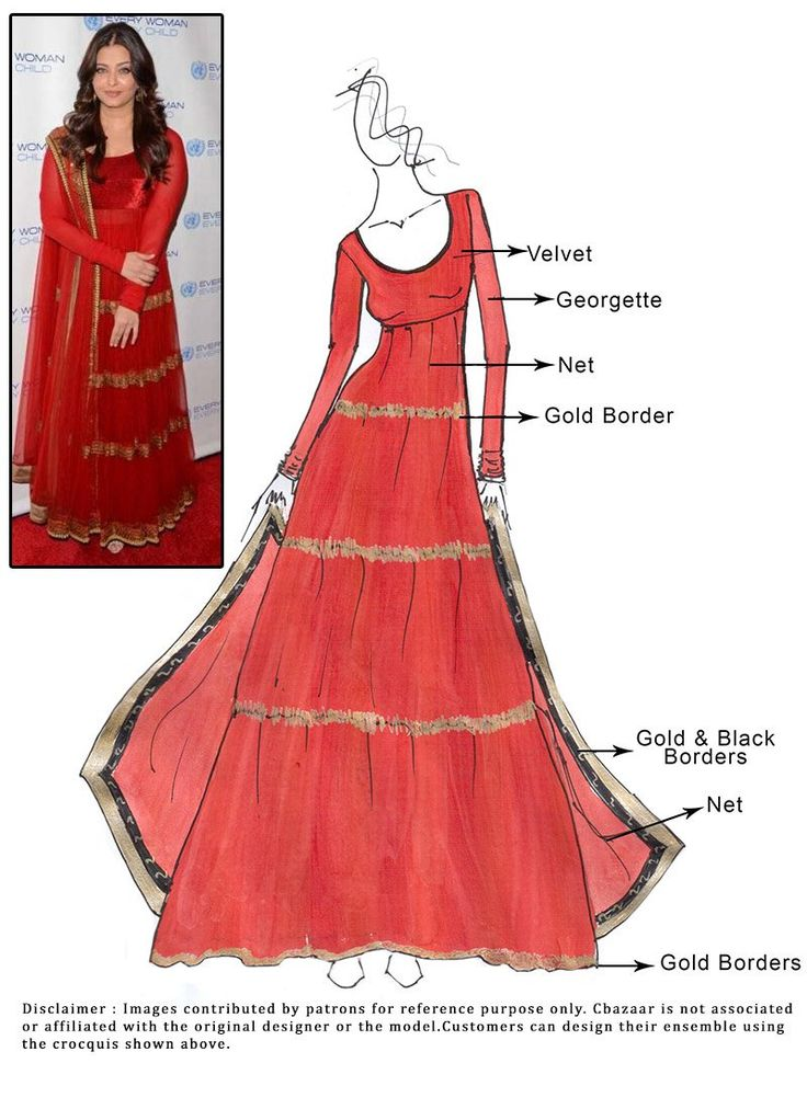 DIY Red Net Aishwariya Rai Anarkali Suit