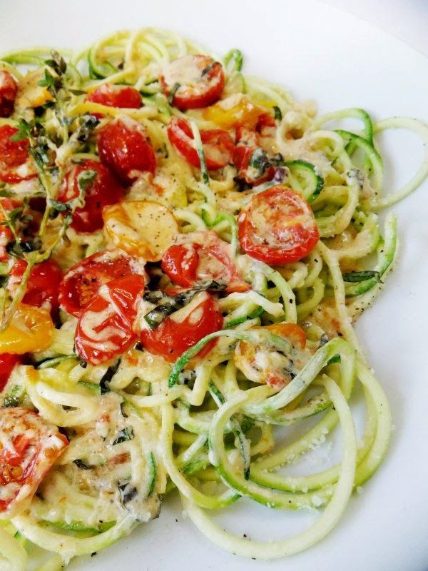 Zucchini Noodles with Slow Roasted Tomatoes and Cream
