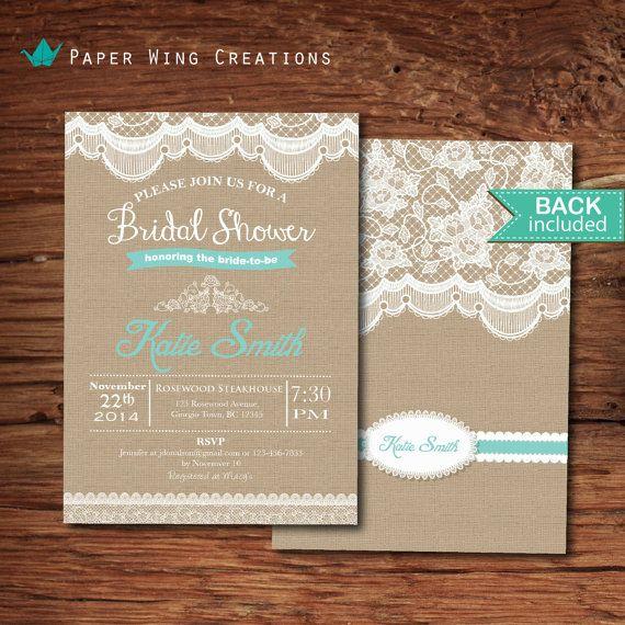 Shabby chic bridal shower invitation. por ThePaperWingCreation, $15.00