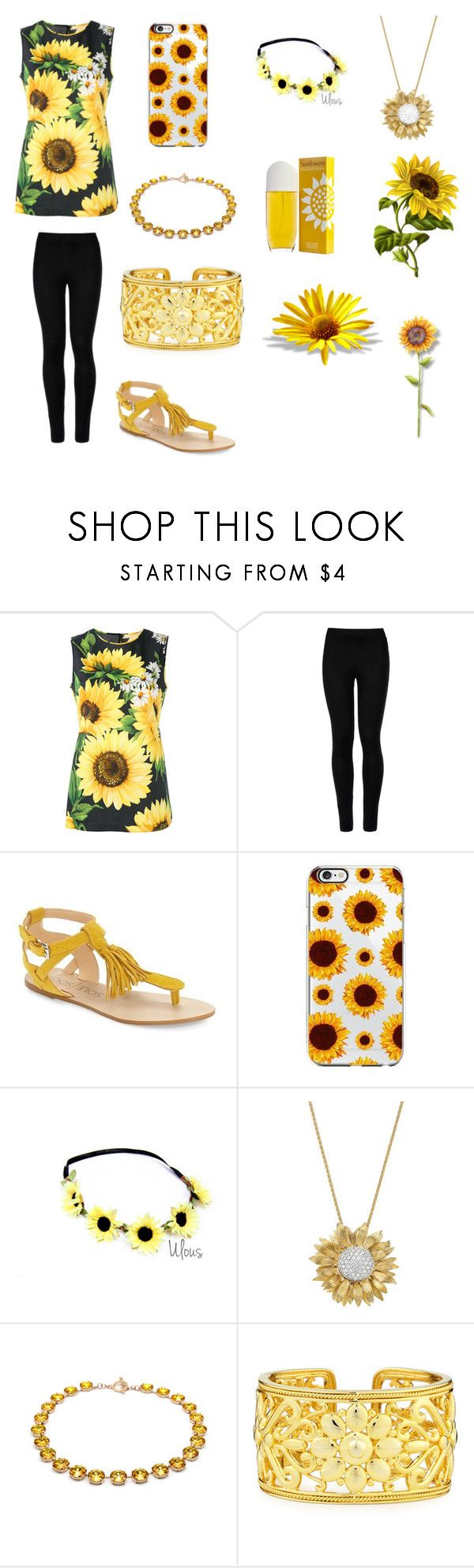 """""""Sunflower"""" by artisticgirl2003 ❤ liked on Polyvore featuring Dolce&Gabbana, Wolford, Sole Society, Asprey, Eli and Elizabeth Arden"""