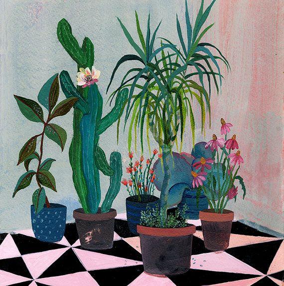 Jardin de la fleur rose - illustration - glicee impression