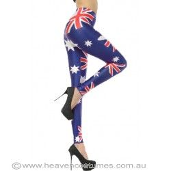 The Aussie flag has never looked so stylish! Shop for these cool leggings now at http://www.heavencostumes.com.au/australia-flag-women-s-costume-leggings.html #leggings #Australia #Aussie #fashion #highheels