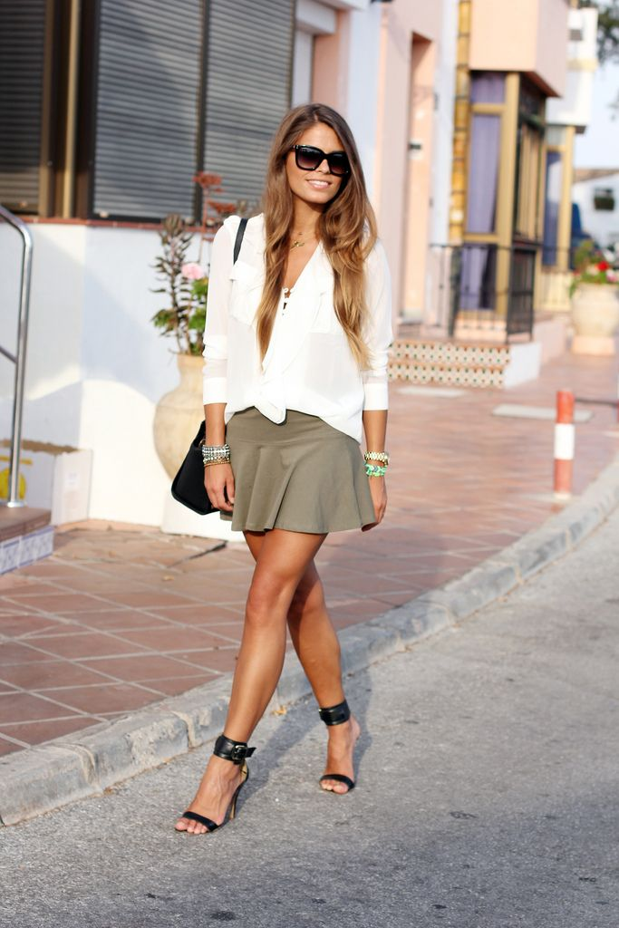 sunglasses beige skirt white shirts shoes summer street casual clothing women style apparel fashion outfit handbag