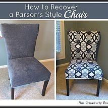 Recovering a Parsons style chair is a great project to try your hand a… :: Hometalk