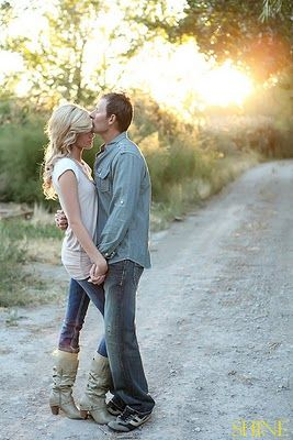 Engagement pictures down a dirt road. <3