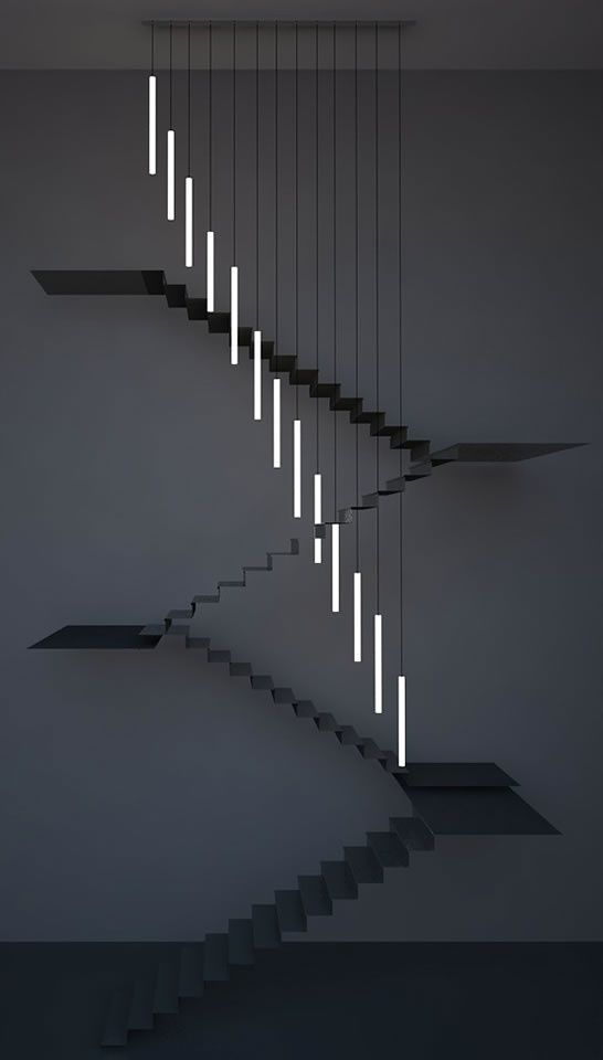 Moody Chandelier by Chiara Ferrari Studio. Bespoke chandelier for a residential project in Central London. It consists of 13 corain tubes hung at various lengths to break the staircase geometry. The project is a collaboration with SEAM design.