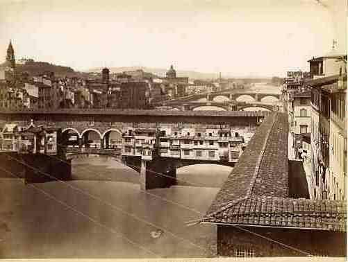 1890: View of Ponte Vecchio and other bridges on the Arno River (from Uffizi Museum)