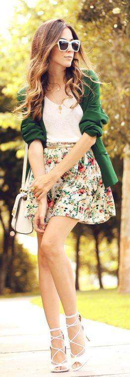 Green Cute Cardigan + Floral Skirt + Lace High Hee...