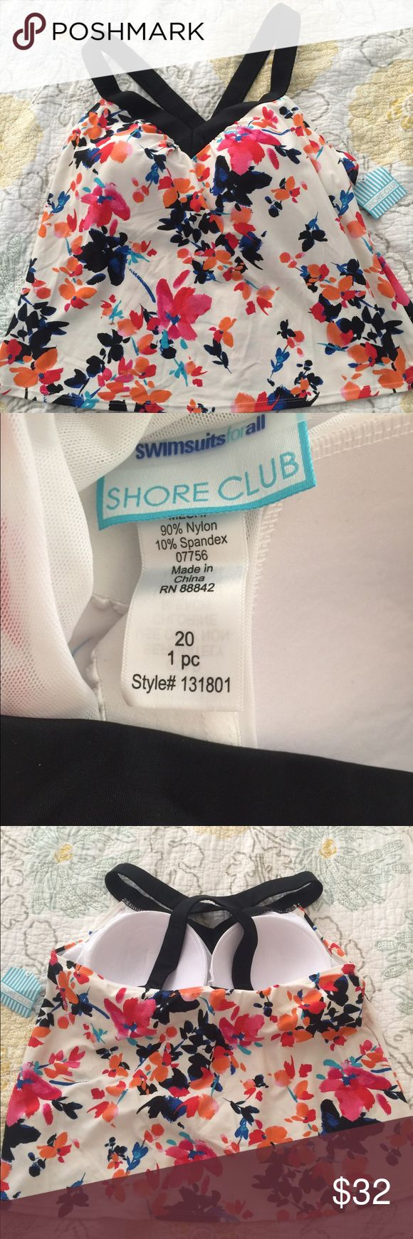 Plus size tankini top Plus size tankini top. Size 20. The base color of this suit is more of a cream not white 🌟. Floral pattern is multi color 🌟 top only.   New with tags 😊. Shore Club  Swim One Pieces