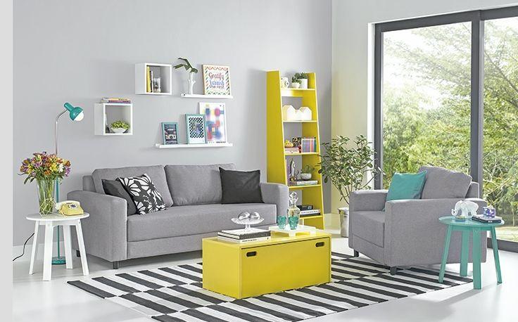 gray and yellow tok&stok cinza e amarelo sala de estar living room