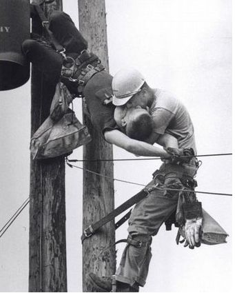"Rocco Morabito's ""The Kiss of Life"" won the 1968 Pulitzer Prize for photography. Image shows a lineman JD Thompson saving his workmate RG Champion after the latter got electrocuted by a live wire."