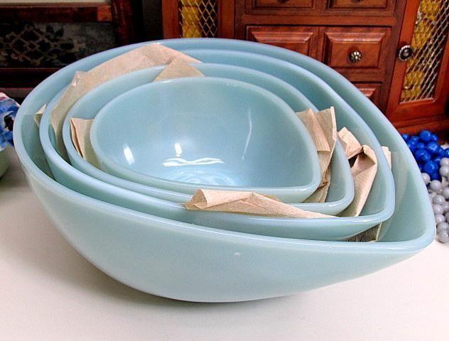 Set of 4 Vintage Fire-King Turquoise Delphite Blue Swedish Modern Mixing Bowls