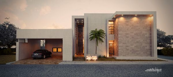 Casa AB por Chuy Wheat, via Behance   – FACHADAS