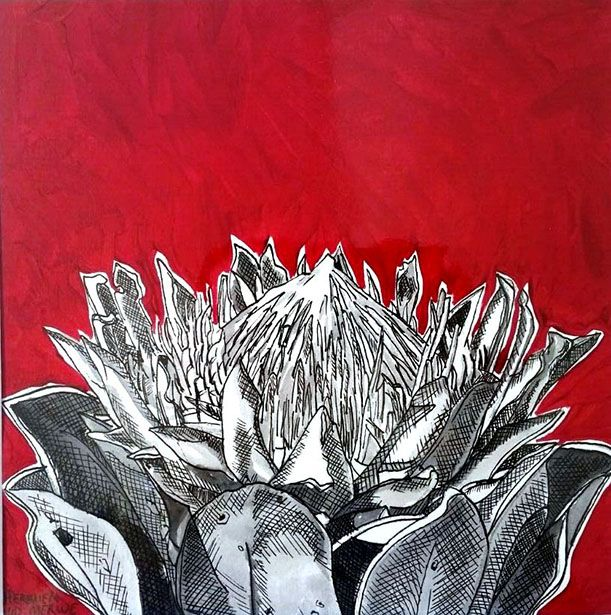 Hermien Van Der Merwe;  Title: Fynbos:  Table Mountain Fynbos 15 Medium: Pen-and-Ink drawing on paper with oil paint background Size: 200 x 200mm