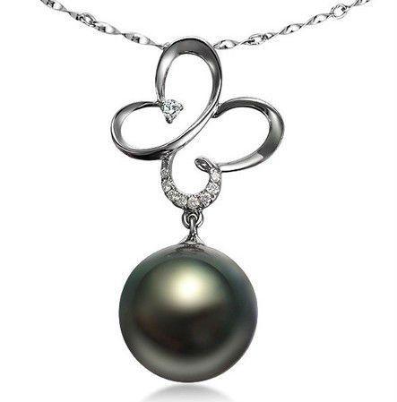 gvbori tahiti black pearls & diamond pendant +925 sterling silver chain necklace fashion style fine pp232fh