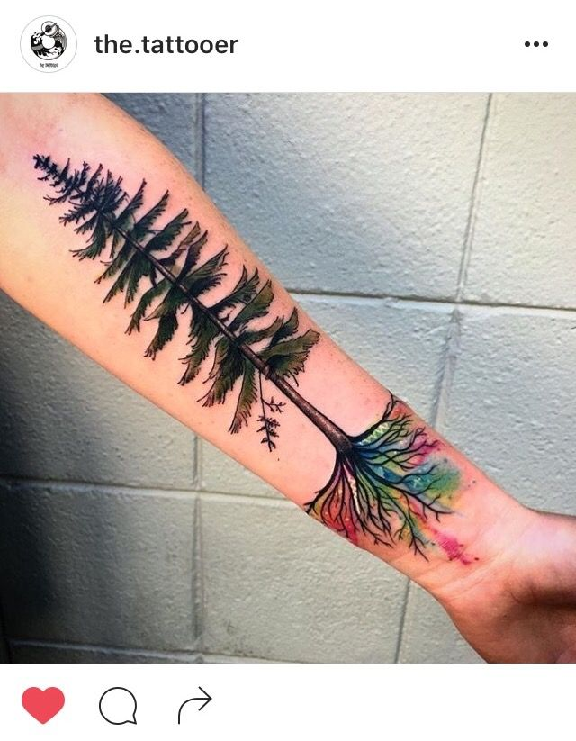Watercolor roots tattoo