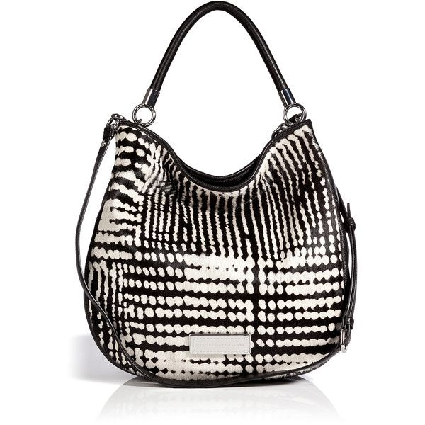 MARC BY MARC JACOBS Haircalf/Leather Hobo Bag ($388) ❤ liked on Polyvore featuring bags, handbags, shoulder bags, purses, hobo purses, leather man bags, man bag, leather shoulder bag and shoulder handbags