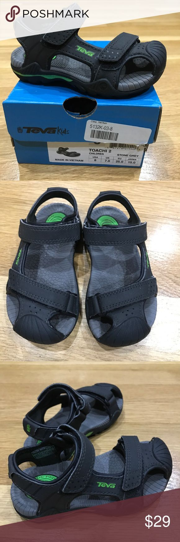 TEVA Toachi 2 Black/Grey Sandal w/ Green accents These were worn a total of two times before my son hit a growth spurt. Aside from some dirt in the soles, these are like new. Black and Grey Sandal with Green accents in toddler size 8.   Comes from a clean, smoke-free home Teva Shoes Sandals & Flip Flops