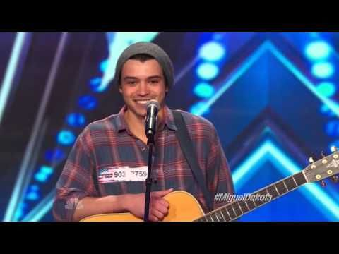 America's Got Talent 2014 - Auditions - Miguel Dakotaplus notice the song playing in the backround....