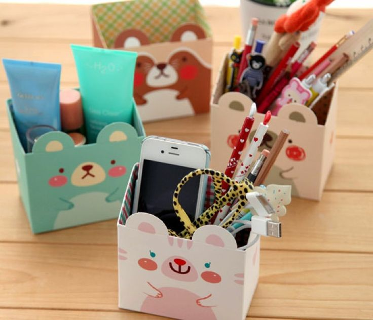 Free Shipping/cute cartoon animals DIY PAPER PENCIL BOX