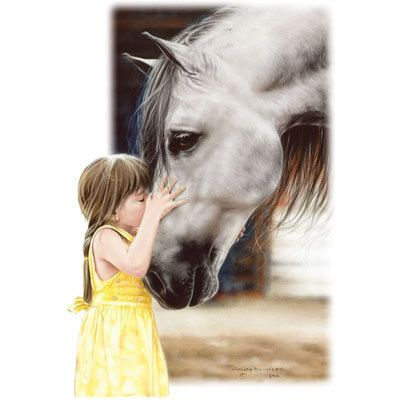 """HORSE: Little Girl with Horse called """"The Kiss"""""""". ONE 16 inch square fabric panel to sew. Actual picture is 8″ x 11″ on white background"""