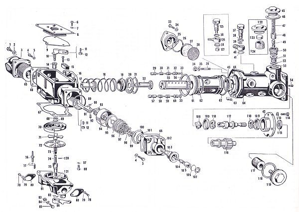 Exploded view of the Lucas Fuel Injection Metering Unit