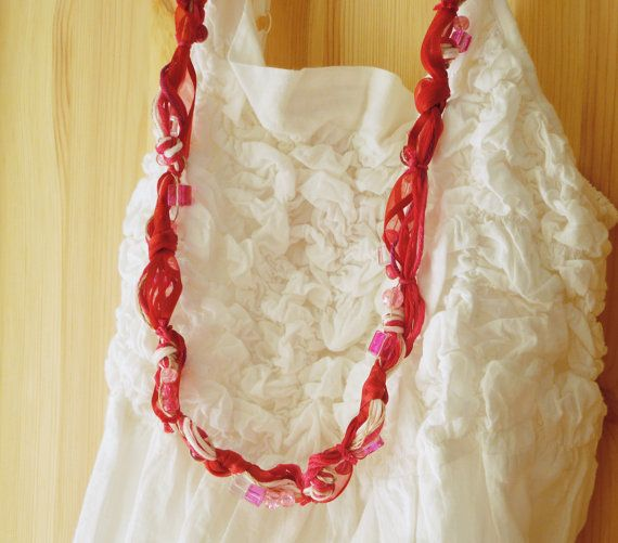 Cute long necklace with cotton and linen yarn, glass beads and organza ribbon -- Red, fuchsia and pastel pink -- Cherry Love 1