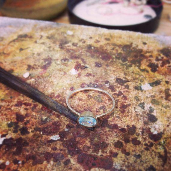 14k Gold Engagement Ring Aquamarine Rustic by MichelleOhJewellery, £550.00