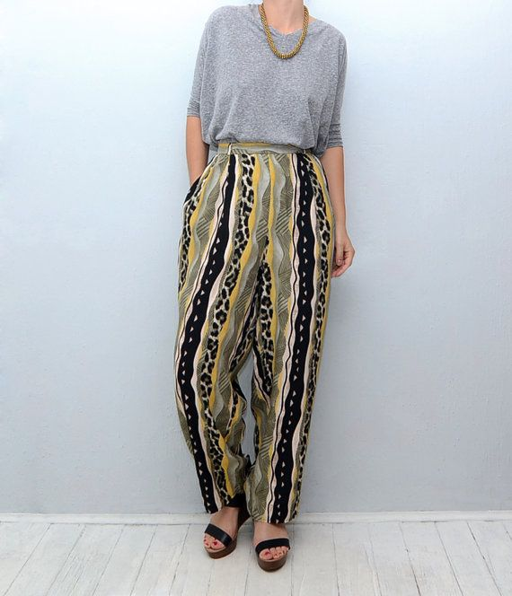 Vintage animal print tribal striped 90s pants by #ZvezdanaVintage, $30.00