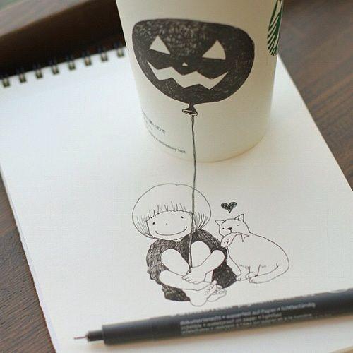 Starbucks Coffee Cup doodles    by Tomoko Shintani