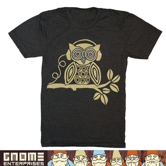 owl with headphones shirt