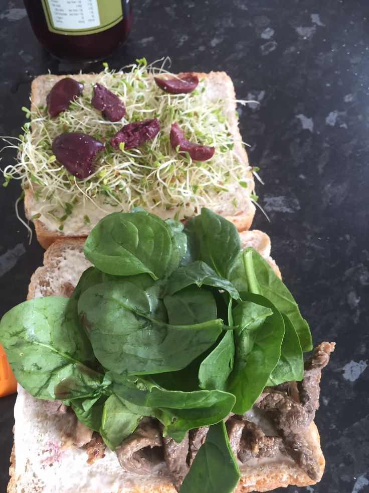 Lunch Beef  Spinach leaves Sprouts Olives Light mayo