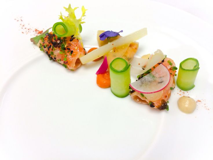 Salmon greens vegetables food