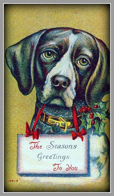 Antique post card, Christmas, dated 1900